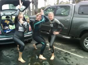 Post swim, Elyse and Alexandra